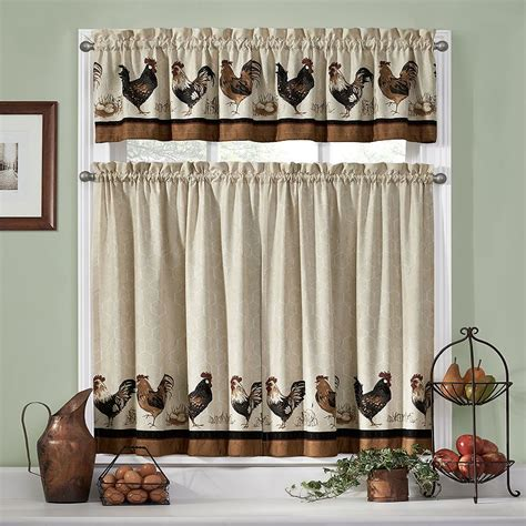 chicken kitchen curtains long rooster curtains linen kitchen curtains 2 pc