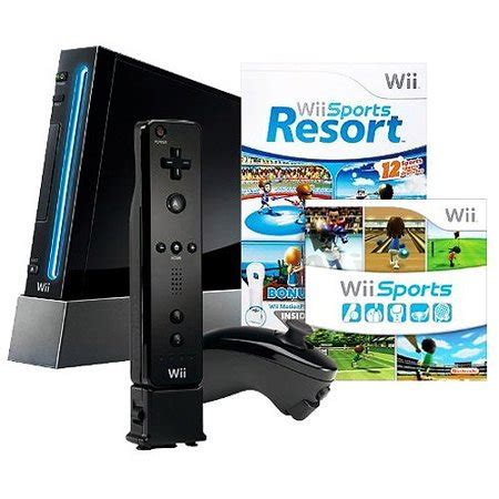 nintendo wii black console nintendo wii console with nintendo wii sports resort