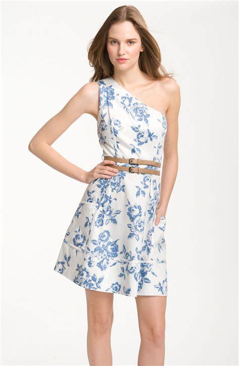 white blue bridesmaid dress print pattern one