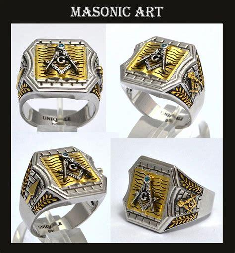 Handmade Masonic Rings - unique masonic 925 silver ring 20 grams white yellow