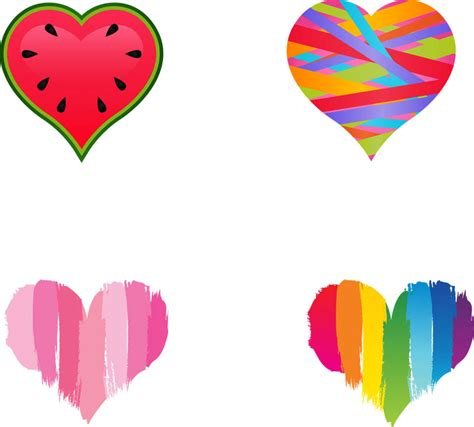 colored hearts four colored hearts clipart best clipart best