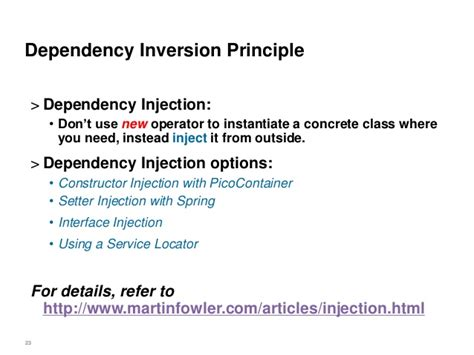 spring dependency injection using setter exle object oriented design principles