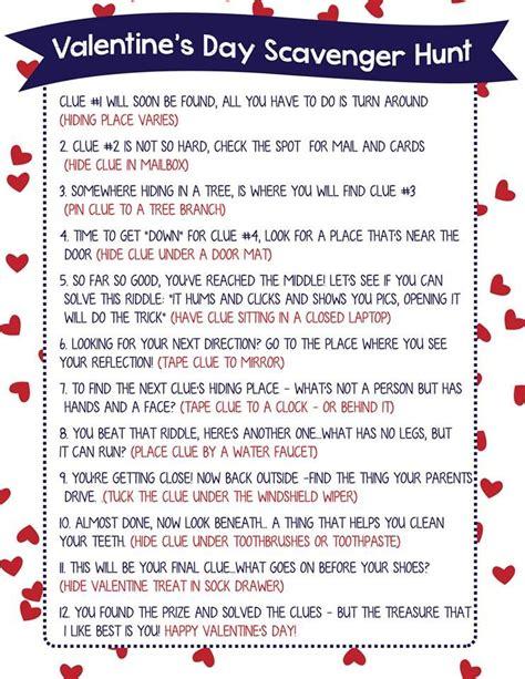 printable christmas scavenger hunt clues valentine scavenger hunt for kids free printable clues