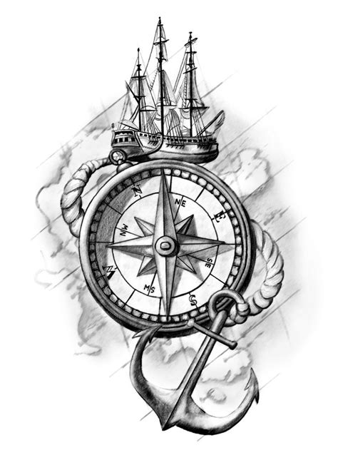 compass tattoo design tattoos cassie munson art sunshine coast artist ink pencil anchor ship