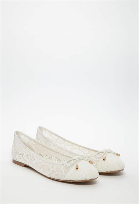 lace shoes flats lyst forever 21 floral lace ballet flats in white