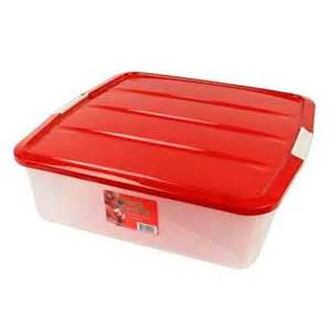 plastic wreath storage container with red lid christmas