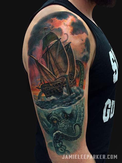 kraken tattoo sleeve image result for kraken and ship