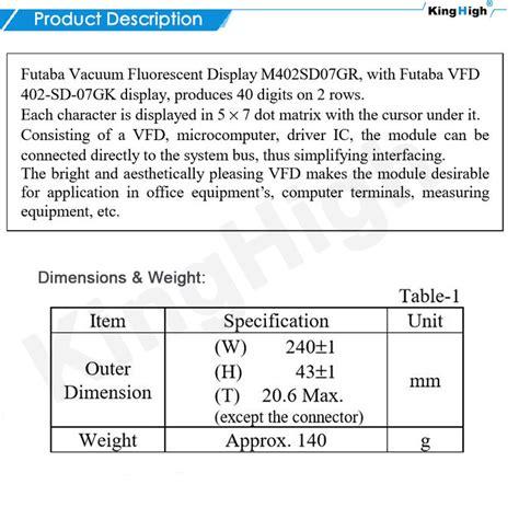 matratze 1 40x2 20 vfd display futaba vfd 40x2 digits m402sd07gk futaba vfd