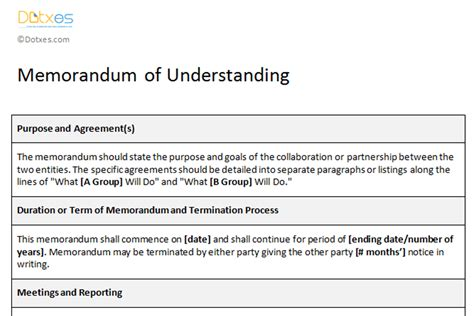 agreement of understanding template memorandum of understanding sle template dotxes