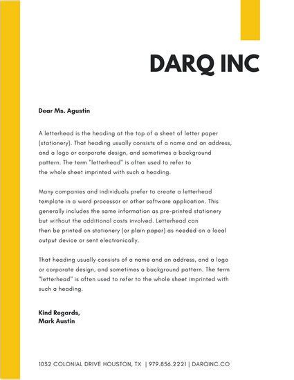 Yellow Simple Company Letterhead   Templates by Canva