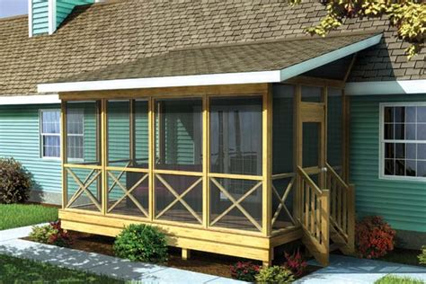 screen porch roof project plan 90012 screened porch w shed roof