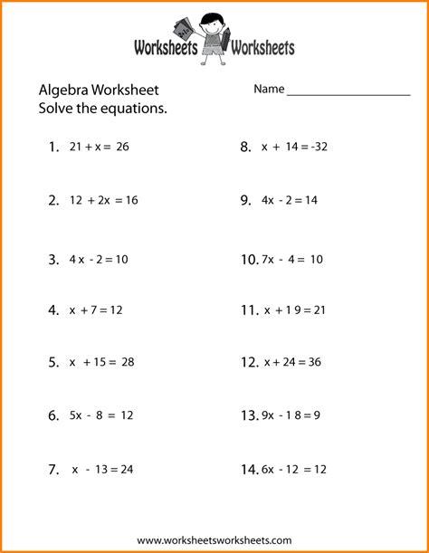 9 basic algebra worksheets western psa