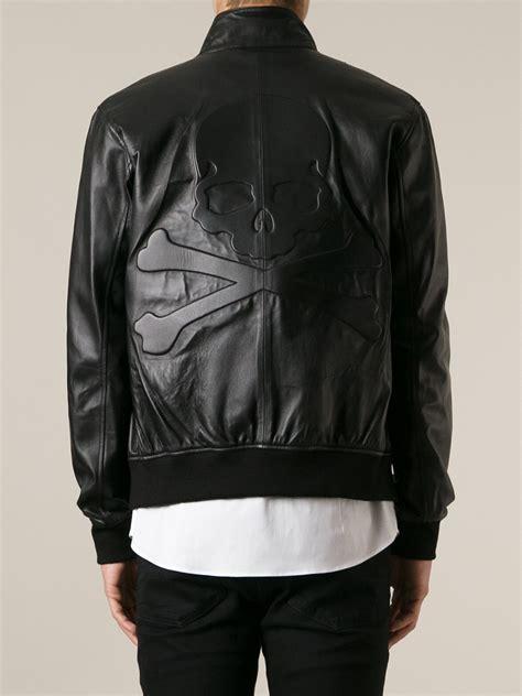 Jaket Longskull lyst philipp plein skull detail jacket in black for