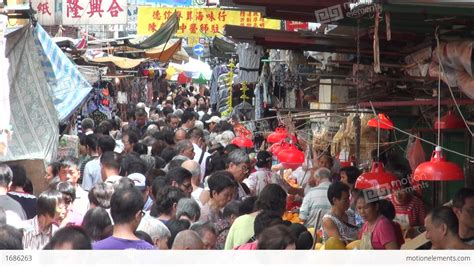 hong kong new year crowded busy crowded market in downtown kowloon in stock