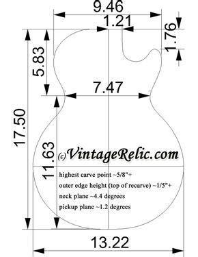 Image result for Les Paul body dimensions   Gitar listrik
