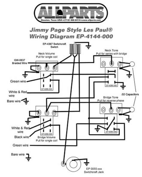 wiring kit  gibson jimmy page les paul complete  diagram pots switch wire  ebay