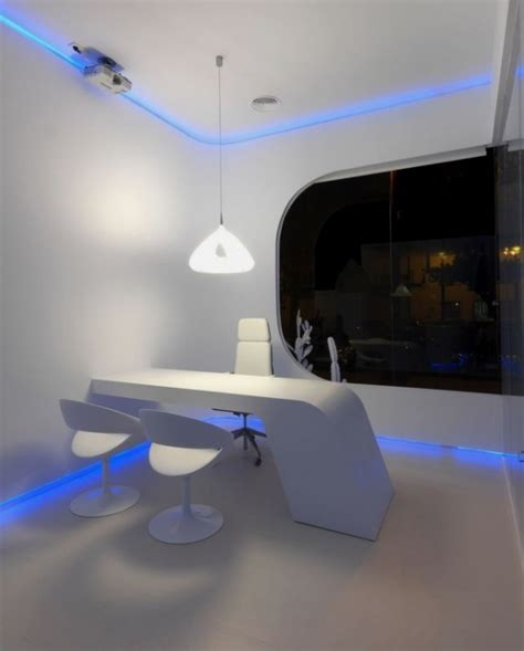 interior gleaming futuristic room with blue led lights also office and workplaces home building furniture and