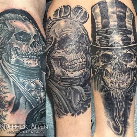 derricktattoo863 uncle sam skull america ben franklin dead