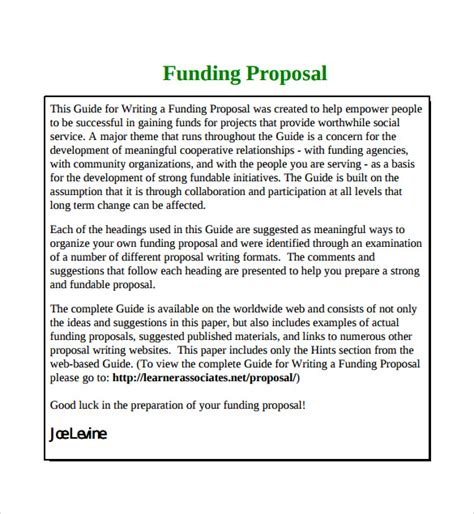 funding proposal template 7 free sles exles