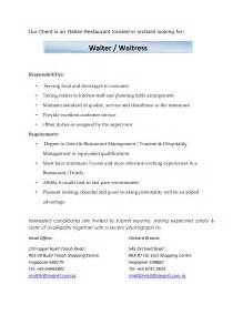 Waiters Description by Exles Of Resumes Application Follow Up Letter Sle Jodoranco In Resume For A 79 Cool