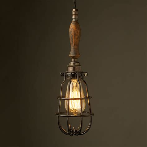 Bronze Trouble Light Cage Pendant Wooden Handle Antiqued Pendant Light Cage