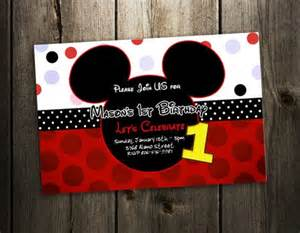 mickey mouse invitation birthday photo invites printable custom 1st baby shower