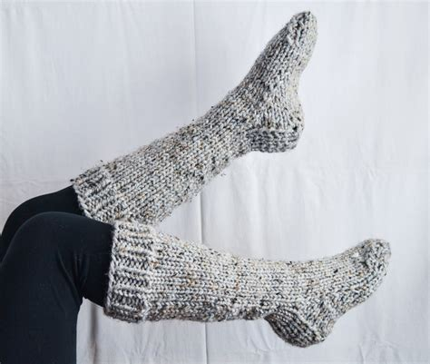 chunky knit socks pattern chunky knit knee high house wool socks in by overduemuse
