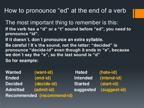 how to pronounce how to pronounce ed at the end of a verb