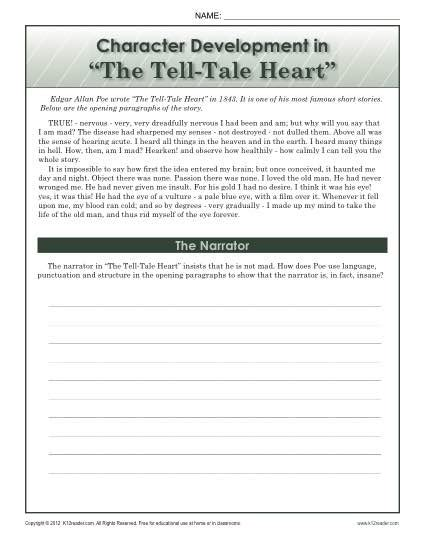 Tell Tale Worksheet by Character Development In The Tell Tale 8th Grade Reading Comprehension Worksheets
