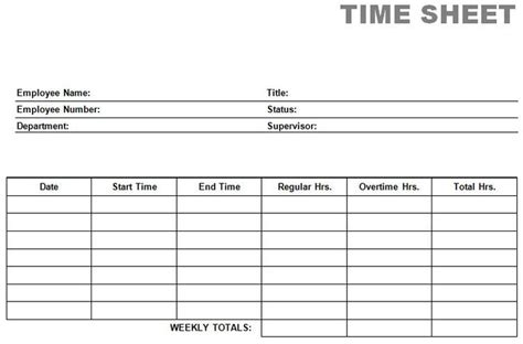 Time Card Spreadsheet Template Mac by Free Time Card Template Printable Blank Pdf Time Card