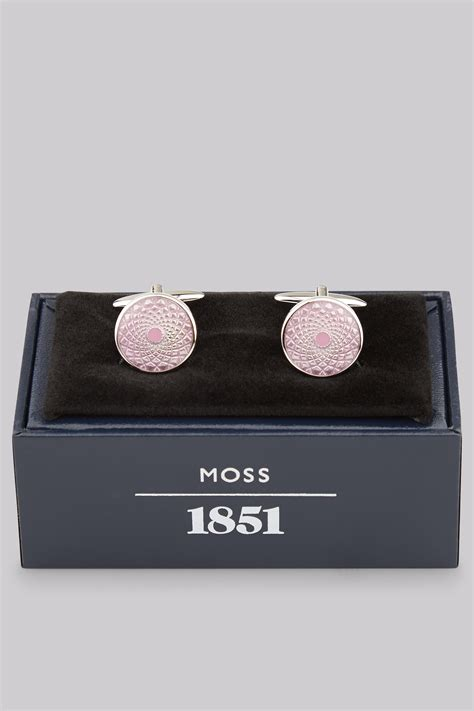 Stek Moss Pink 1 moss 1851 pink enamel cufflink
