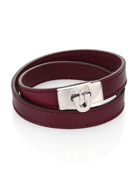 ferragamo gancio leather wrap bracelet in purple for