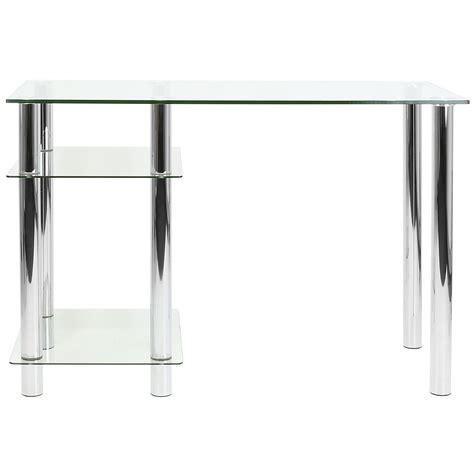 glass desk with shelves hartleys clear glass computer desk base unit shelf