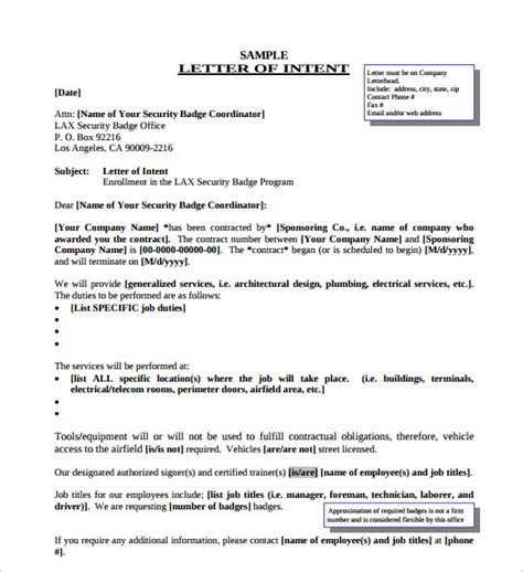 Letter Of Intent Word Format Sle Letters Of Intent 7 Free Documents In Pdf Word