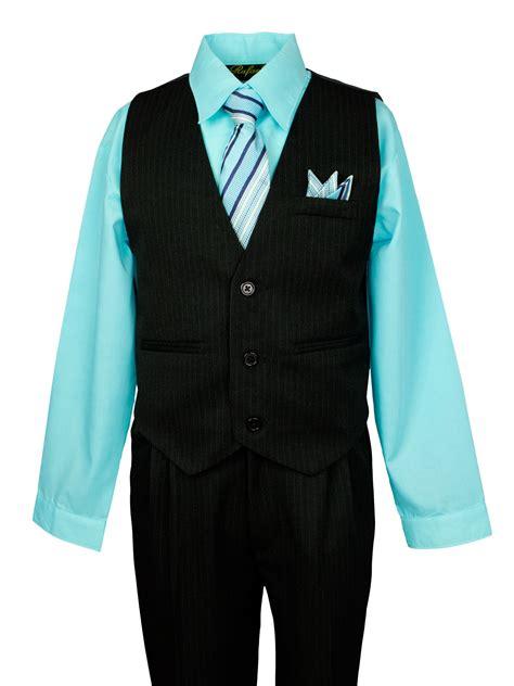 Notion Boys Pinstripe Dress Shirt Vest Suit Set Aqua