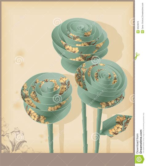 decorative paper roses vintage decorative paper roses stock illustration image