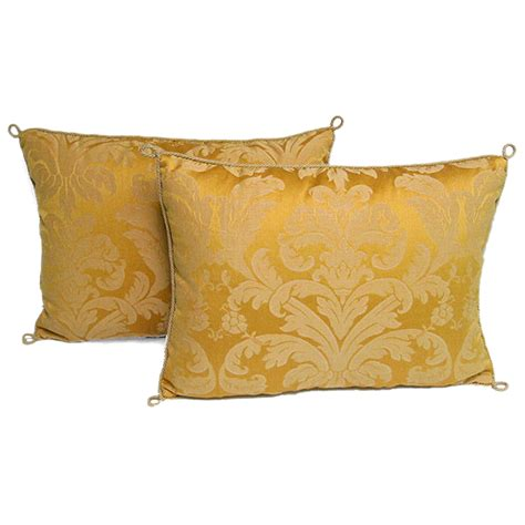 Handcrafted Cushions - 3014 pair of handmade yellow damask pillows with a
