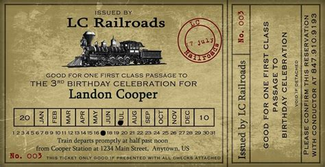 printable train tickets uk vintage train ticket party invitation 4x8 by nounces on etsy