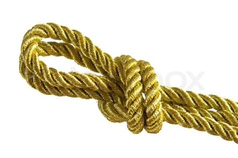 String Knotting - gold rope knot stock photo colourbox
