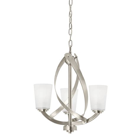 Shop Kichler Layla 17.25 in 3 Light Brushed Nickel Etched Glass Shaded Chandelier at Lowes.com