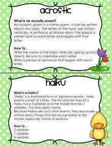 Spring poetry unit 12 different types of poems with posters