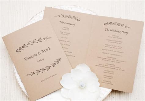 program paper templates printable wedding program template kraft paper program