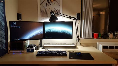 best desk for dual monitors mini itx with floating dual 1080p monitors on a big pale