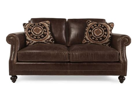 bernhardt brae leather loveseat mathis brothers furniture