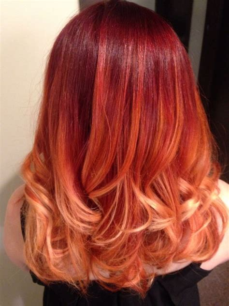 red hair with blonde ombre bob haircut red ombr 233 medium length hair done with aveda color hair