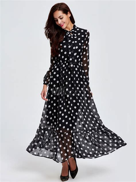 manches longues 224 pois f 233 minin robes maxi collier orn 233