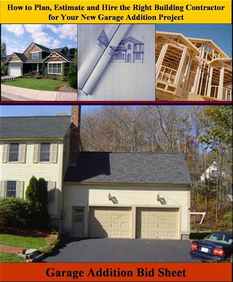 Cost To Build Addition Garage by Garage Addition Bid Sheet Building Garage Addition