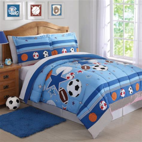 blue sports star boys bedding twin full queen comforter or