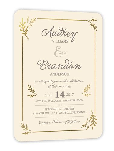shutterfly card template botanical border 5x7 wedding invitations shutterfly