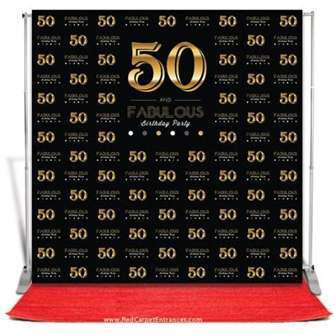 Backdrop Design For 50th Birthday | 50 and fabulous birthday backdrop black 8x8 carpets